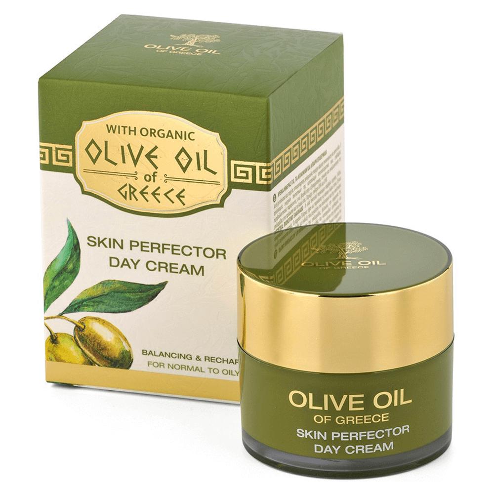 Das ist die Olive Oil of Greece Day Cream Skin Perfector von Biofresh aus Bulgarien.